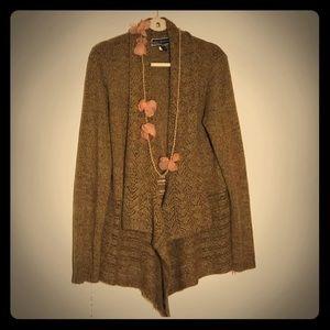 EUC Karen Scott Flowy Soft Sweater Cardi, Grain L